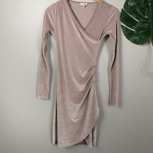 Wilfred Pale pink velour mini dress